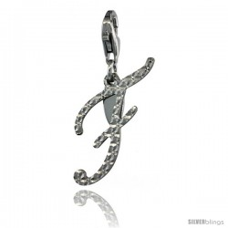 Sterling Silver Script Initial Letter F Alphabet Charm Diamond Cut Finish and Lobster Lock Clasp, 3/4 in