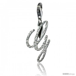Sterling Silver Script Initial Letter G Alphabet Charm Diamond Cut Finish and Lobster Lock Clasp, 3/4 in