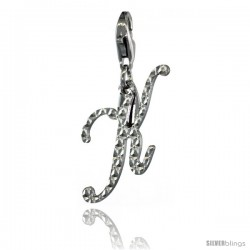 Sterling Silver Script Initial Letter K Alphabet Charm Diamond Cut Finish and Lobster Lock Clasp, 3/4 in