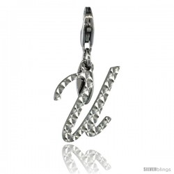 Sterling Silver Script Initial Letter U Alphabet Charm Diamond Cut Finish and Lobster Lock Clasp, 3/4 in