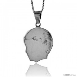 Sterling Silver Flat Boy's Head Pendant, Made in Italy. 13/16 in. (21 mm) Tall