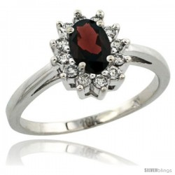 14k White Gold Garnet Diamond Halo Ring Oval Shape 1.2 Carat 6X4 mm, 1/2 in wide