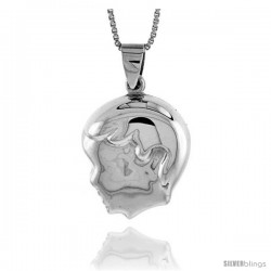 Sterling Silver Puffed Boy's Head Pendant, Made in Italy. 13/16 in. (21 mm) Tall