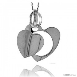 Sterling Silver Large Double Heart Pendant, Made in Italy. 1 3/16 in. (30 mm) Tall