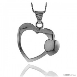 Sterling Silver Large Double Heart Pendant, Made in Italy. 1 3/16 in. (30 mm) Tall -Style Iph103