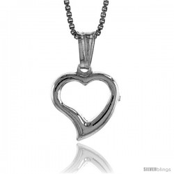 Sterling Silver Small Heart Pendant, Made in Italy. 1/2 in. (13 mm) Tall