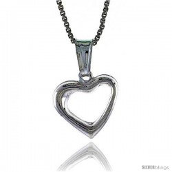 Sterling Silver Small Heart Pendant, Made in Italy. 1/2 in. (12 mm) Tall