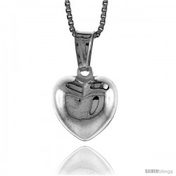 Sterling Silver Small Heart Pendant, Made in Italy. 1/2 in. (12 mm) Tall -Style Iph108