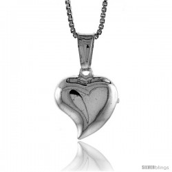 Sterling Silver Small Heart Pendant, Made in Italy. 1/2 in. (13 mm) Tall -Style Iph109
