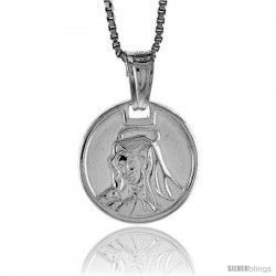 Sterling Silver Mother Mary Medal, Made in Italy. 9/16 in. (15 mm) in Diameter.
