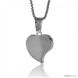Sterling Silver Small Heart Pendant, Made in Italy. 1/2 in. (13 mm) Tall -Style Iph110