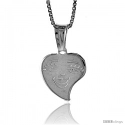Sterling Silver Small Heart with Face Pendant, Made in Italy. 1/2 in. (13 mm) Tall
