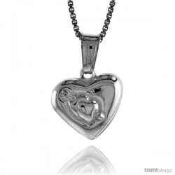 Sterling Silver Small Heart Pendant, Made in Italy. 1/2 in. (12 mm) Tall -Style Iph113