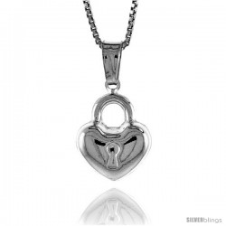 Sterling Silver Small Heart with Lock Pendant, Made in Italy. 9/16 in. (14 mm) Tall