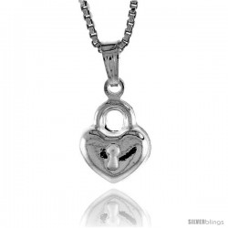 Sterling Silver Teeny Heart with Lock Pendant, Made in Italy. 3/8 in. (9 mm) Tall -Style Iph117