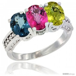 14K White Gold Natural London Blue Topaz, Pink Topaz & Lemon Quartz Ring 3-Stone 7x5 mm Oval Diamond Accent