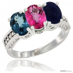 14K White Gold Natural London Blue Topaz, Pink Topaz & Lapis Ring 3-Stone 7x5 mm Oval Diamond Accent