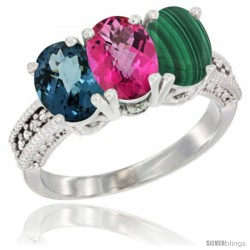 14K White Gold Natural London Blue Topaz, Pink Topaz & Malachite Ring 3-Stone 7x5 mm Oval Diamond Accent