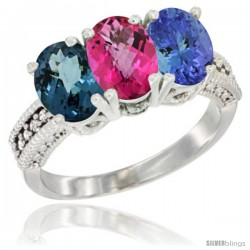 14K White Gold Natural London Blue Topaz, Pink Topaz & Tanzanite Ring 3-Stone 7x5 mm Oval Diamond Accent