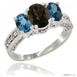 14k White Gold Ladies Oval Natural Smoky Topaz 3-Stone Ring with London Blue Topaz Sides Diamond Accent