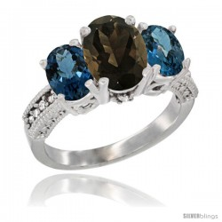 14K White Gold Ladies 3-Stone Oval Natural Smoky Topaz Ring with London Blue Topaz Sides Diamond Accent