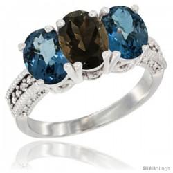 14K White Gold Natural Smoky Topaz & London Blue Topaz Sides Ring 3-Stone 7x5 mm Oval Diamond Accent