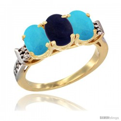 10K Yellow Gold Natural Lapis & Turquoise Sides Ring 3-Stone Oval 7x5 mm Diamond Accent