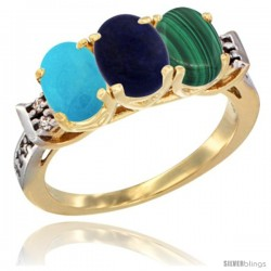 10K Yellow Gold Natural Turquoise, Lapis & Malachite Ring 3-Stone Oval 7x5 mm Diamond Accent