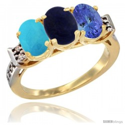 10K Yellow Gold Natural Turquoise, Lapis & Tanzanite Ring 3-Stone Oval 7x5 mm Diamond Accent