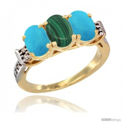 10K Yellow Gold Natural Malachite & Turquoise Sides Ring 3-Stone Oval 7x5 mm Diamond Accent
