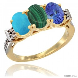10K Yellow Gold Natural Turquoise, Malachite & Tanzanite Ring 3-Stone Oval 7x5 mm Diamond Accent