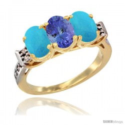 10K Yellow Gold Natural Tanzanite & Turquoise Sides Ring 3-Stone Oval 7x5 mm Diamond Accent