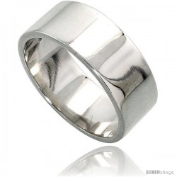 Sterling Silver 8 mm Flat Wedding Band