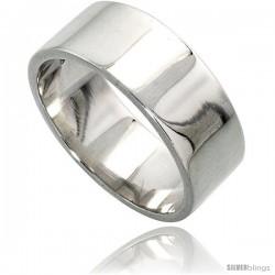 Sterling Silver 8 mm Flat Wedding Band