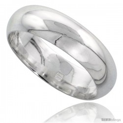 Sterling Silver 6 mm High Dome Wedding Band Thumb Ring