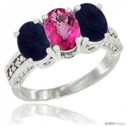 10K White Gold Natural Pink Topaz & Lapis Sides Ring 3-Stone Oval 7x5 mm Diamond Accent