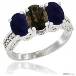 10K White Gold Natural Smoky Topaz & Lapis Sides Ring 3-Stone Oval 7x5 mm Diamond Accent