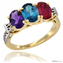 10K Yellow Gold Natural Amethyst, London Blue Topaz & Ruby Ring 3-Stone Oval 7x5 mm Diamond Accent
