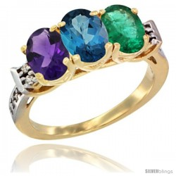 10K Yellow Gold Natural Amethyst, London Blue Topaz & Emerald Ring 3-Stone Oval 7x5 mm Diamond Accent