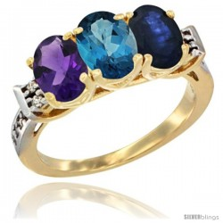 10K Yellow Gold Natural Amethyst, London Blue Topaz & Blue Sapphire Ring 3-Stone Oval 7x5 mm Diamond Accent