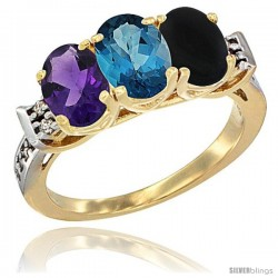 10K Yellow Gold Natural Amethyst, London Blue Topaz & Black Onyx Ring 3-Stone Oval 7x5 mm Diamond Accent