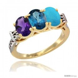 10K Yellow Gold Natural Amethyst, London Blue Topaz & Turquoise Ring 3-Stone Oval 7x5 mm Diamond Accent