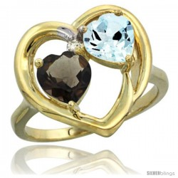 14k Yellow Gold 2-Stone Heart Ring 6mm Natural Smoky Topaz & Aquamarine Diamond Accent