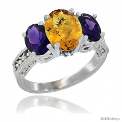 14K White Gold Ladies 3-Stone Oval Natural Whisky Quartz Ring with Amethyst Sides Diamond Accent