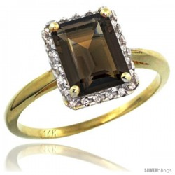 14k Yellow Gold Diamond Smoky Topaz Ring 1.6 ct Emerald Shape 8x6 mm, 1/2 in wide