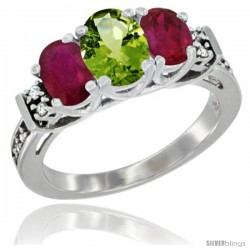 14K White Gold Natural Peridot & Ruby Ring 3-Stone Oval with Diamond Accent