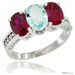 14K White Gold Natural Aquamarine & Ruby Sides Ring 3-Stone Oval 7x5 mm Diamond Accent
