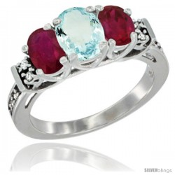 14K White Gold Natural Aquamarine & Ruby Ring 3-Stone Oval with Diamond Accent