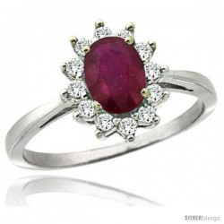 14k White Gold Diamond Halo Ruby Ring 0.85 ct Oval Stone 7x5 mm, 1/2 in wide