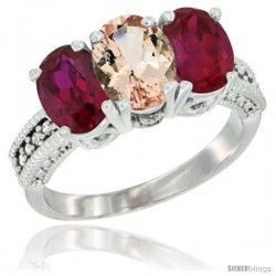 14K White Gold Natural Morganite & Ruby Sides Ring 3-Stone Oval 7x5 mm Diamond Accent